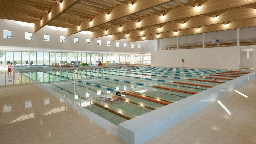 Werken nieuw zwembad zwevegem van start focus en wtv for Piscine ypres